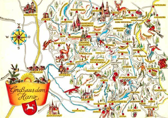 Ak Ansichtskarte Harz Region Landkarte Nr Kc20773 Oldthing