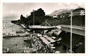 AK / Ansichtskarte Evian les Bains Haute Savoie La Plage Strand Restaurant Terrasse Kat. Evian les Bains
