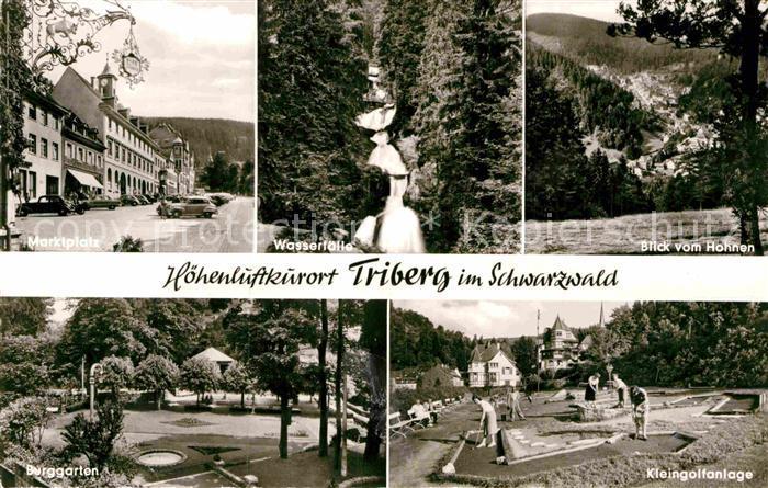AK / Ansichtskarte Triberg Schwarzwald Marktplatz Wasserfaelle Burggarten Kleingolfanlage Kat. Triberg im Schwarzwald