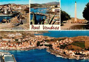 AK / Ansichtskarte Port Vendres Hafen Fliegeraufnahme Obilisk Teilansicht  Kat. Port Vendres