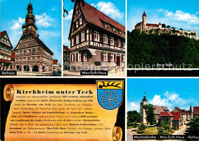 AK / Ansichtskarte Kirchheim Teck Rathaus Max Eyth Haus Burg Teck Martinskirche Rathaus Kat. Kirchheim unter Teck