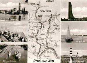 AK / Ansichtskarte Kiel Rathaus Tirpitzhafen Schleuse Holtenau Leuchtturm Friedrichsort Laboe Kat. Kiel