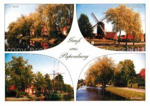 AK / Ansichtskarte Papenburg Ems Windmuehle Traditionsschiffe Kanal