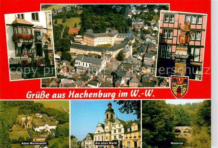 AK / Ansichtskarte Hachenburg Westerwald Panorama Abtei Marienstatt alter Markt Nistertal Kat. Hachenburg