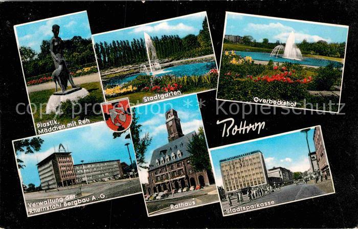 AK / Ansichtskarte Bottrop Plastik Maedchen Reh Overbeckshof Stadtgarten Rathaus Kat. Bottrop