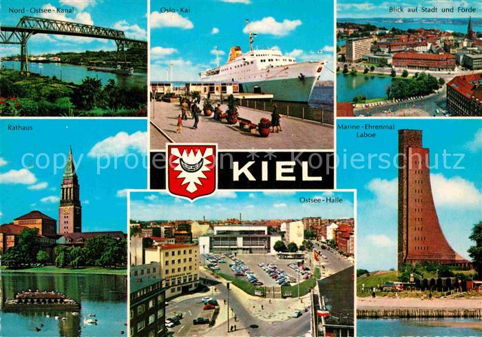 AK / Ansichtskarte Kiel Nord Ostsee Kanal Rathaus Oslo Kai Marine Ehrenmal Laboe Kat. Kiel 0