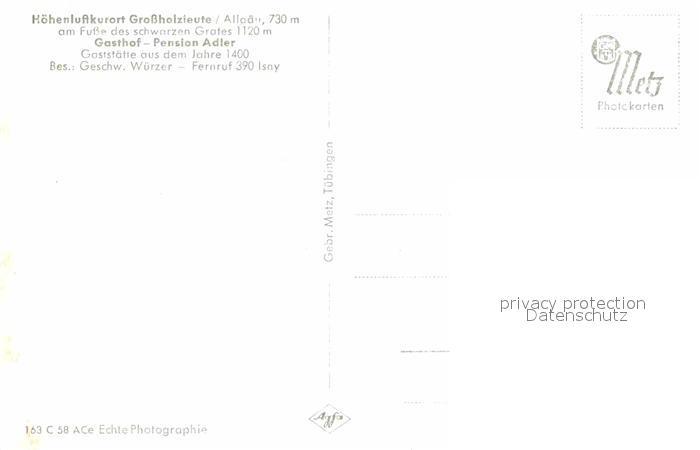 AK / Ansichtskarte Grossholzleute Gasthof Pension Adler Gerichtslaube 15. Jhdt. Kat. Isny im Allgaeu 1