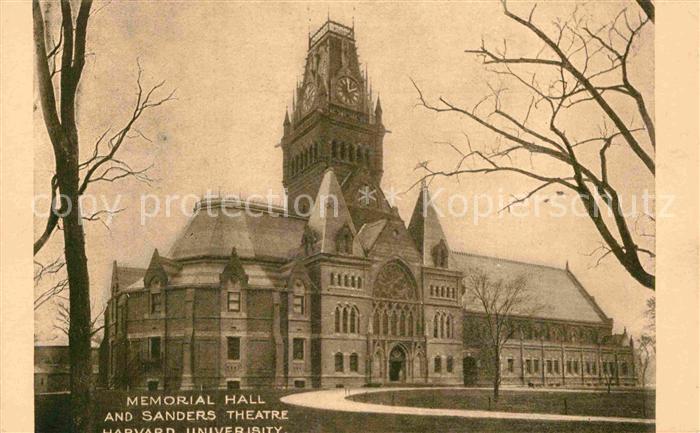 AK / Ansichtskarte Cambridge Cambridgeshire Memorial Hall and Sanders Theatre Harvard University