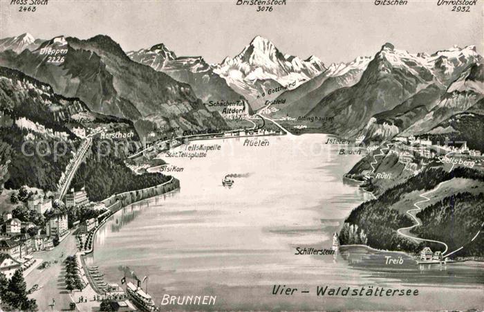 AK / Ansichtskarte Brunnen SZ Vierwaldstaettersee Alpenpanorama aus der Vogelperspektive Kat. Brunnen 0