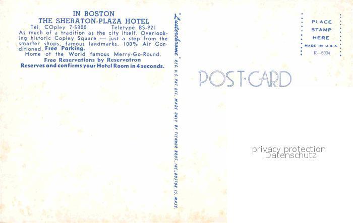 AK / Ansichtskarte Boston Sheraton Plaza Hotel Kronleuchter Kat. Boston 1