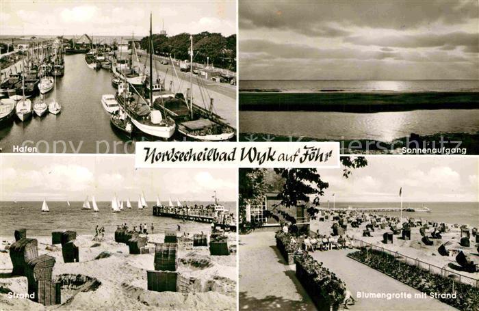 AK / Ansichtskarte Wyk Foehr Hafen Sonnenaufgang am Meer Blumengrotte Strand Kat. Wyk auf Foehr 0
