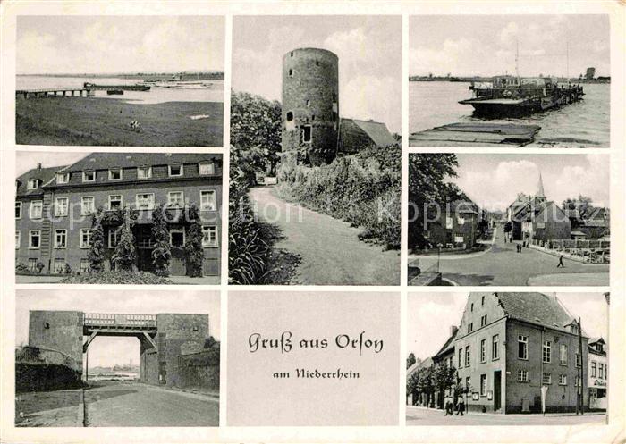 AK / Ansichtskarte Orsoy Rhein Partie am Rhein Turm Rheinfaehre Rheintor Ortsmotiv Kat. Rheinberg 0