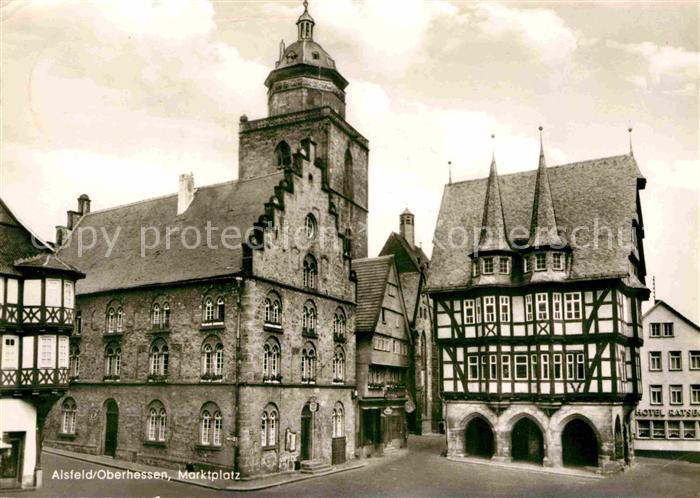 AK / Ansichtskarte Alsfeld Marktplatz Rathaus Fachwerkhaus Kat. Alsfeld 0