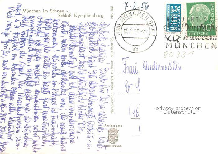 AK / Ansichtskarte Muenchen Schloss Nymphenburg im Schnee Kat. Muenchen 1