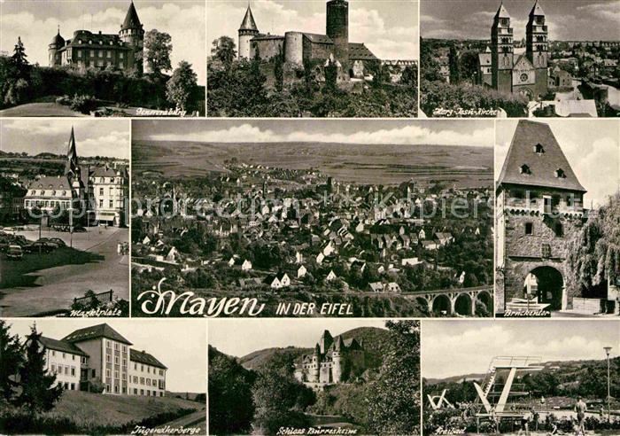 AK / Ansichtskarte Mayen Genovevaburg Herz Jesu Kirche Brueckentor Marktplatz Jugendherberge Schloss Freibad Kat. Mayen