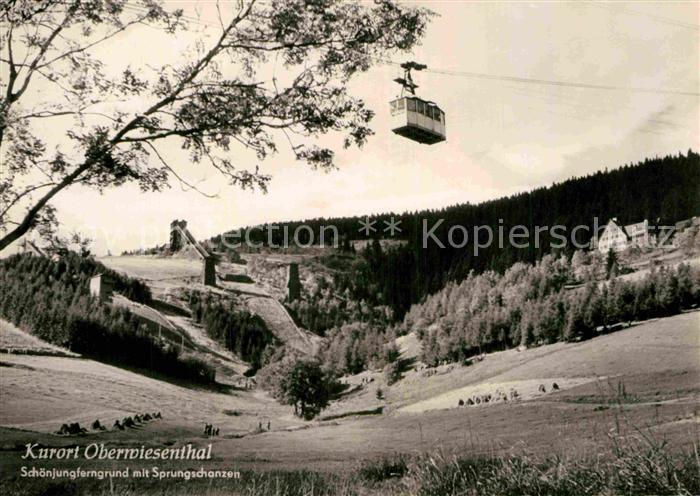 AK / Ansichtskarte Oberwiesenthal Erzgebirge Schoenjungferngrund mit Sprungschanzen Kat. Oberwiesenthal 0