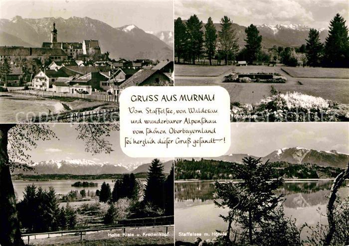 AK / Ansichtskarte Murnau Staffelsee Ortsansicht mit Kirche Kurgarten Hohe Kiste Krottenkopf Alpenpanorama 0