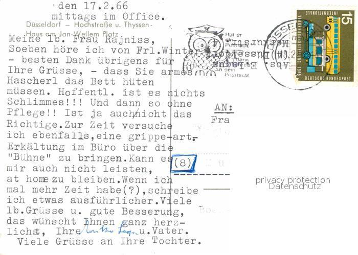 AK / Ansichtskarte Duesseldorf Hochstrasse Thyssenhaus Jan Wellem Platz Kat. Duesseldorf 1