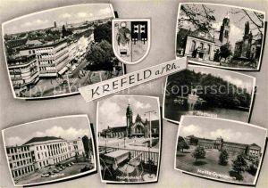 AK / Ansichtskarte Krefeld Rathaus Hauptbahnhof Ostwall Stadtwald Kat. Krefeld