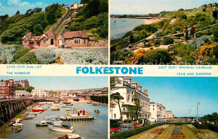 AK / Ansichtskarte Folkestone Leas Cliff and Lift The Harbour East Cliff Showing Harbour Leas and Gardens Kat. Shepway