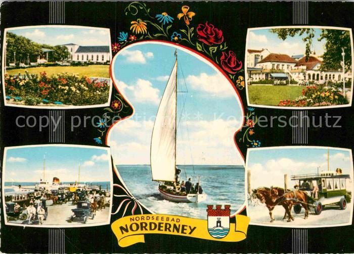 AK / Ansichtskarte Norderney Nordseebad Park Hafenpartie Segelschiff Wattwagen Kat. Norderney