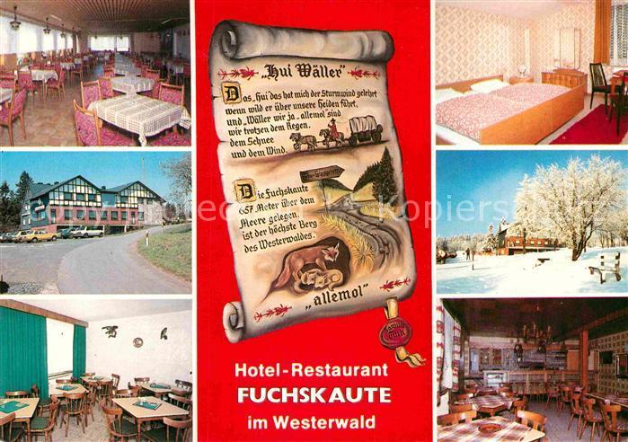 AK / Ansichtskarte Willingen Westerwald Hotel Restaurant Fuchskaute Gastraeume Zimmer Kat. Willingen