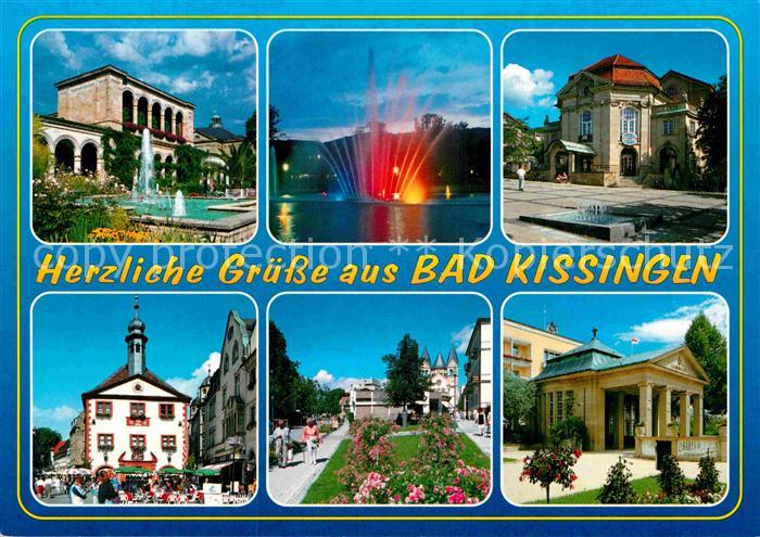 AK / Ansichtskarte Bad Kissingen Kurklinik Wasserfontaene Rathaus Marktplatz Kurpark  Kat. Bad Kissingen