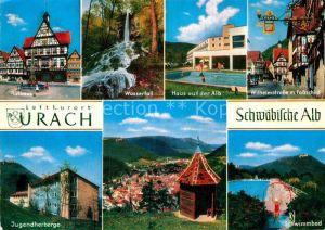 AK / Ansichtskarte Urach Bad Rathaus Wasserfall Haus auf der Alb Jugendherberge Schwimmbad Kat. Bad Urach