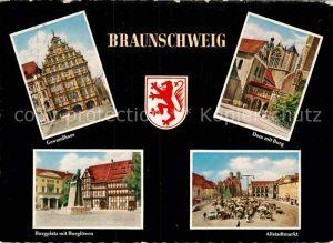 AK / Ansichtskarte Braunschweig Gewandhaus Burgplatz Burgloewen Altstadtmarkt Dom Burg Kat. Braunschweig
