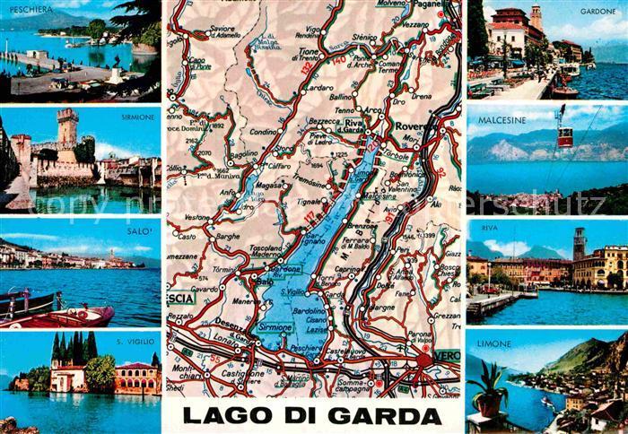 Ak Ansichtskarte Gardasee Lago Di Garda Landkarte Sirmione Salo