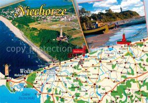 AK / Ansichtskarte Niechorze Horst Fliegeraufnahme Landkarte  Kat. Seebad Horst Pommern