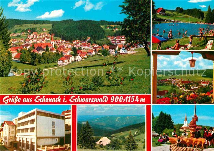 AK / Ansichtskarte Schonach Schwarzwald Teilansicht Holzbrunnen Schwimmbad Teilansicht  Kat. Schonach im Schwarzwald