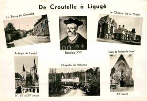 AK / Ansichtskarte Croutelle Le Bourg Le Chateau de la Motte Abbaye de Liguge Rabelais XVII Chapelle de Mezeau Eglise de Fontaine le Comte Kat. Croutelle