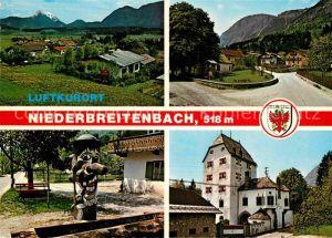 AK / Ansichtskarte Niederbreitenbach Ortsansichten mit Kaisergebirge Kapelle und Innbergen Dorfbrunnen Schloss Schoenwarth