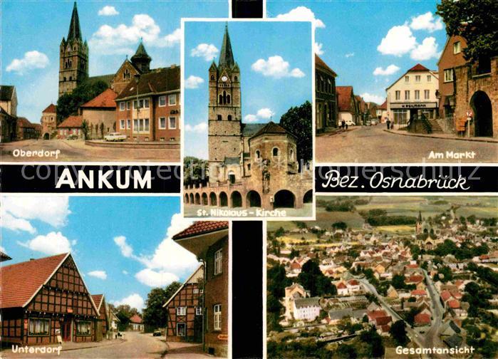 AK / Ansichtskarte Ankum Oberndorf St Nikolaus Kirche Am Markt Unterdorf Fliegeraufnahme Kat. Ankum