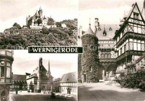 AK / Ansichtskarte Wernigerode Harz Feudalmuseum Schloss Wernigerode Marktplatz Rathaus  Kat. Wernigerode