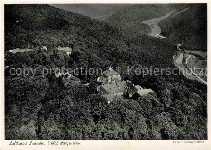 AK / Ansichtskarte Laasphe Bad Schloss Wittgenstein Fliegeraufnahme Kat. Bad Laasphe