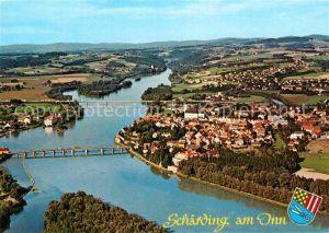 AK / Ansichtskarte Schaerding Inn Kneippkurstadt Grenzstadt Fliegeraufnahme