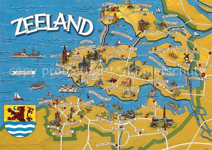 karte zeeland AK / Ansichtskarte Zeeland Niederlande Landkarte Kat. Niederlande