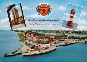 AK / Ansichtskarte Wilhelmshaven Rathaus Leuchtturm Roter Sand Baederflotte  Kat. Wilhelmshaven