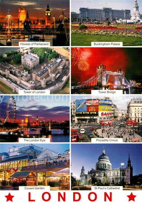 AK / Ansichtskarte London Parlament Tower Of London Tower Bridge Piccadilly Circus London Eye Kat. City of London
