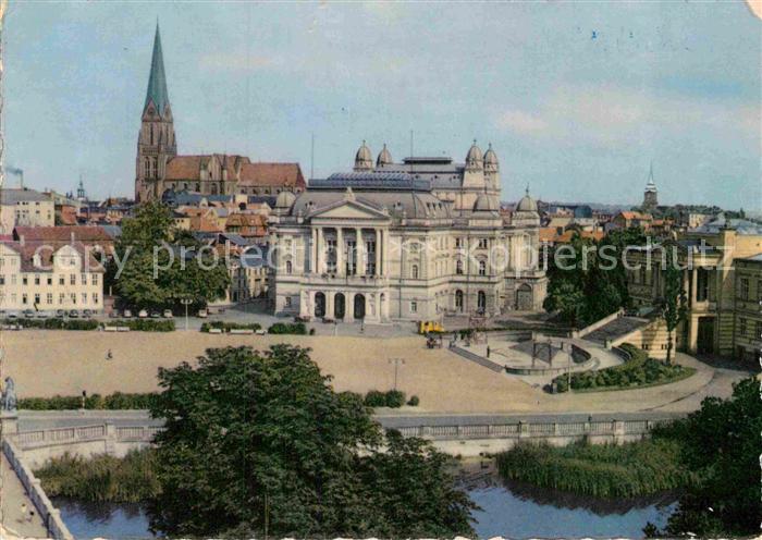 Ak Ansichtskarte Schwerin Mecklenburg Alter Garten Mit Theater Und
