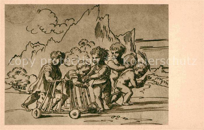 AK / Ansichtskarte Federzeichnung Tusche Kupferstichkabinett Donaueschingen Kinder