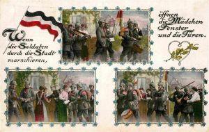 AK / Ansichtskarte Militaria Poesie Wenn die Soldaten durch die Stadt marschieren..WK1