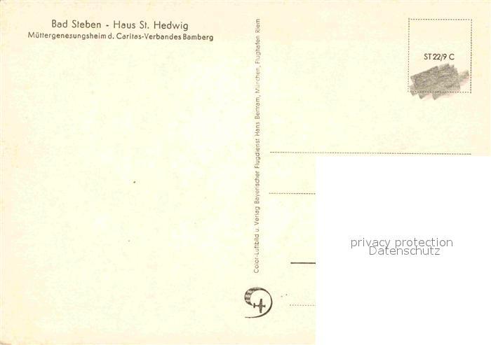 AK / Ansichtskarte Bad Steben Haus St Hedwig Muettergenesungsheim Caritas Verband Bamberg Fliegeraufnahme Kat. Bad Steben 1