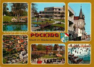 AK / Ansichtskarte Pocking Fliegeraufnahme Kurpark Hallenbad Kurhaus  Kat. Pocking