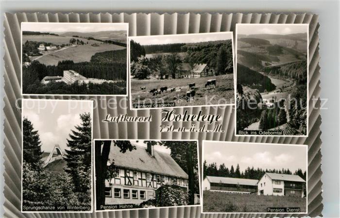 AK / Ansichtskarte Hoheleye Pension Graberhof Hahne Dienst Sprungschanze Kat. Winterberg
