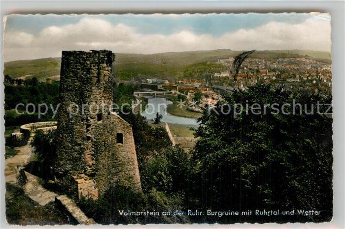 AK / Ansichtskarte Volmarstein Burgruine Ruhrtal Blick auf Wetter Kat. Wetter (Ruhr)