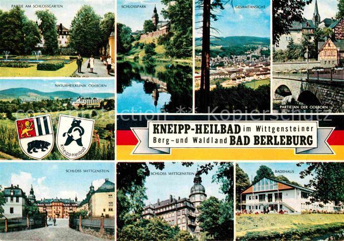 AK / Ansichtskarte Bad Berleburg Partie an der Odeborn Schlossgarten Schloss Wittgenstein Badehaus Kat. Bad Berleburg