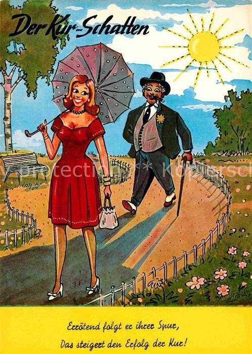 AK / Ansichtskarte Humor Kur Schatten Mann Zigarre Frau  Kat. Humor